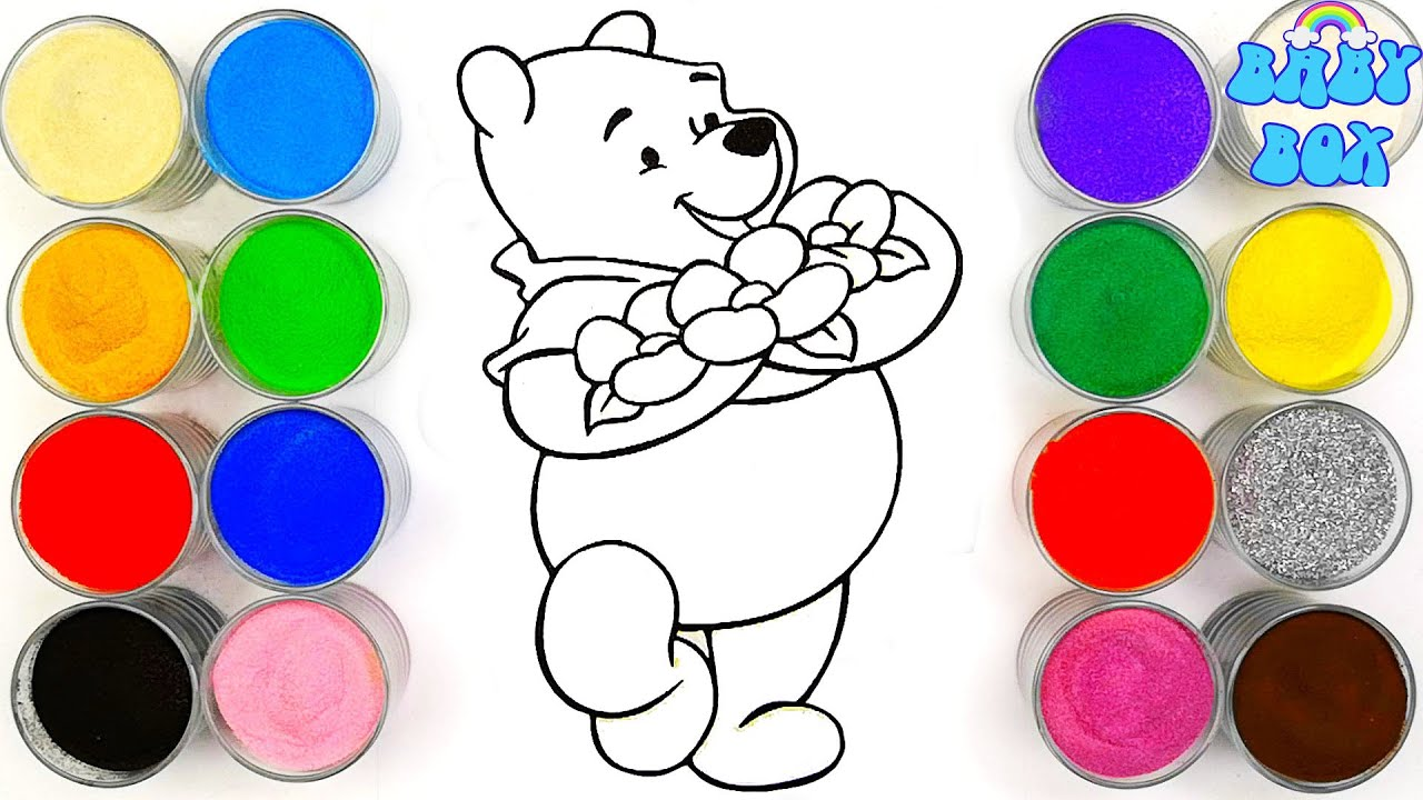 Винни Пух, раскраска для детей. Учим ЦВЕТА / Babybox art ...