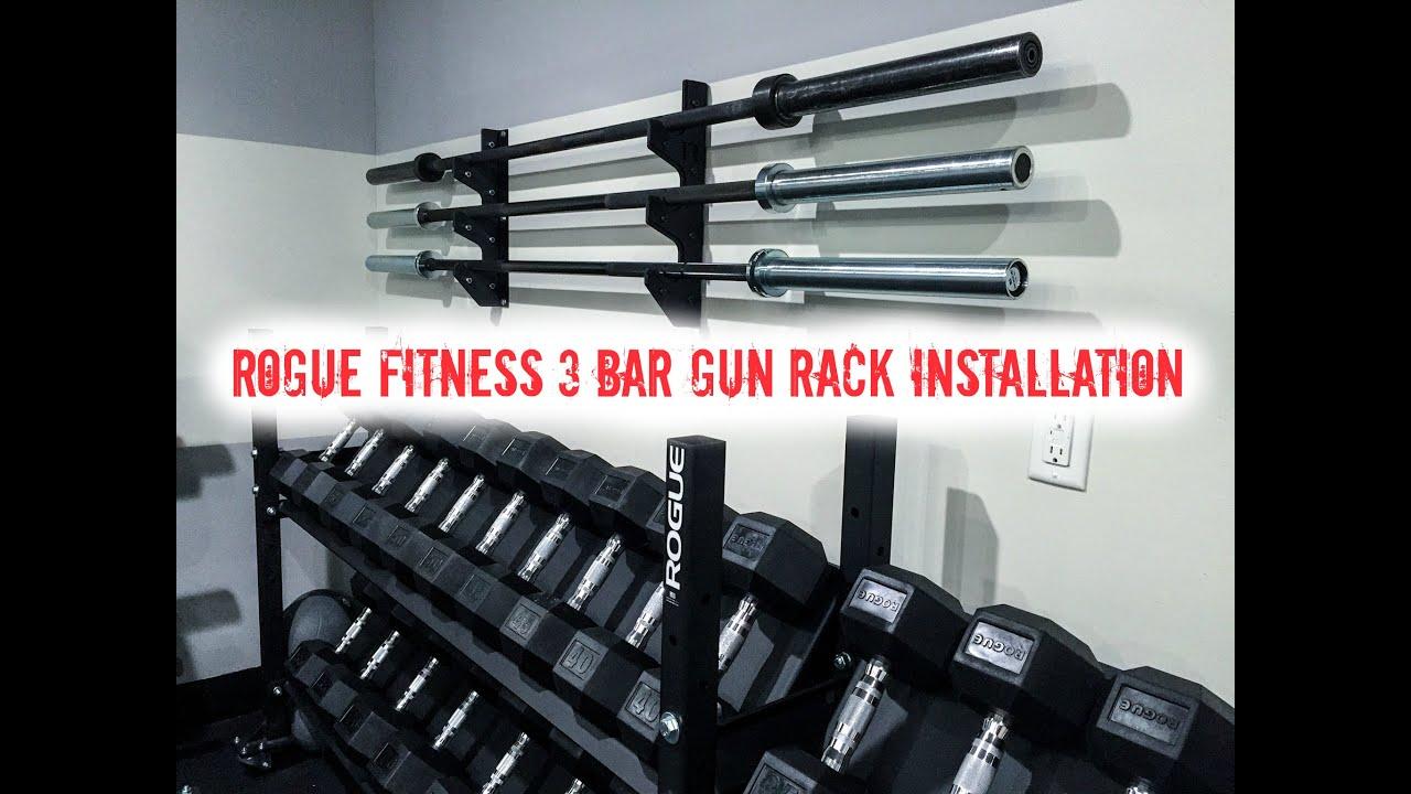 Rogue fitness bar gun rack garage gym installation youtube
