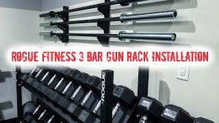 Rogue Fitness 3 Bar Gun Rack Garage Gym Installation(Make sure you mount both brackets on studs. You will need to pick up 6 decent sized bolts and 6 washers for installation. Make sure your bolts are of the quality ..., 2016-02-29T11:00:00.000Z)