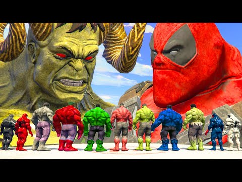 World War Hulk   Blue Hulk & Hulk Lucifer & Red Hulk vs Team Venom - What If Battle Superheroes