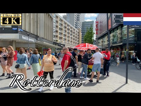 🇳🇱Rotterdam Summer Walk - Centrum District -【4K 60fps】