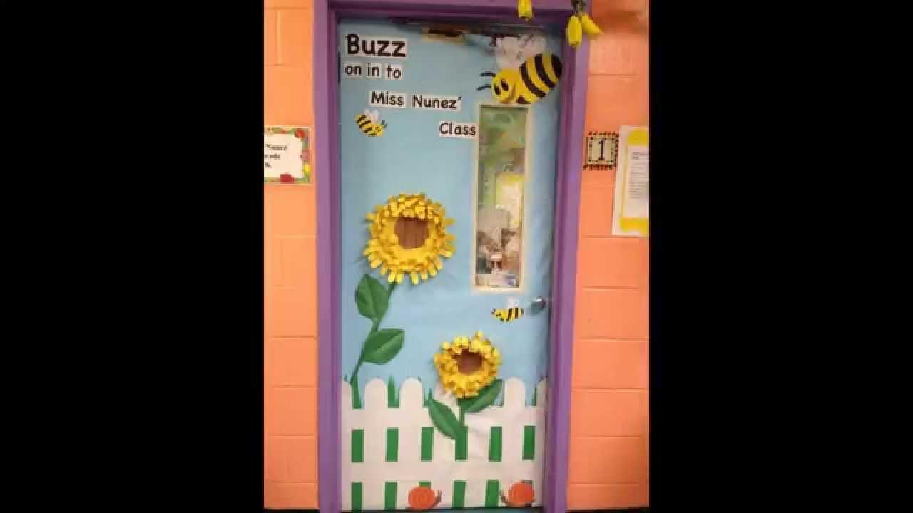 Classroom door decorations for spring - YouTube