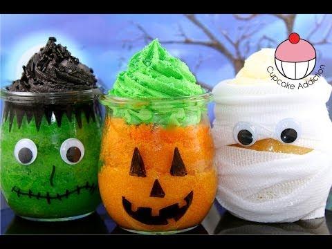 Make Halloween Cupcake Jars with YoyoMax12 & MyCupcakeAddiction - Frankenstein, Pumpkin & Mummy!