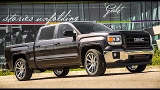"Custom Lowered 2014 Sierra with 22"" Wheels and Painted Trim 