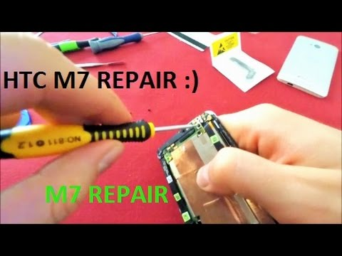 HTC ONE M7 microphone & charging port unit replacement USING OLD BANK CARD Mobile phone repair cell