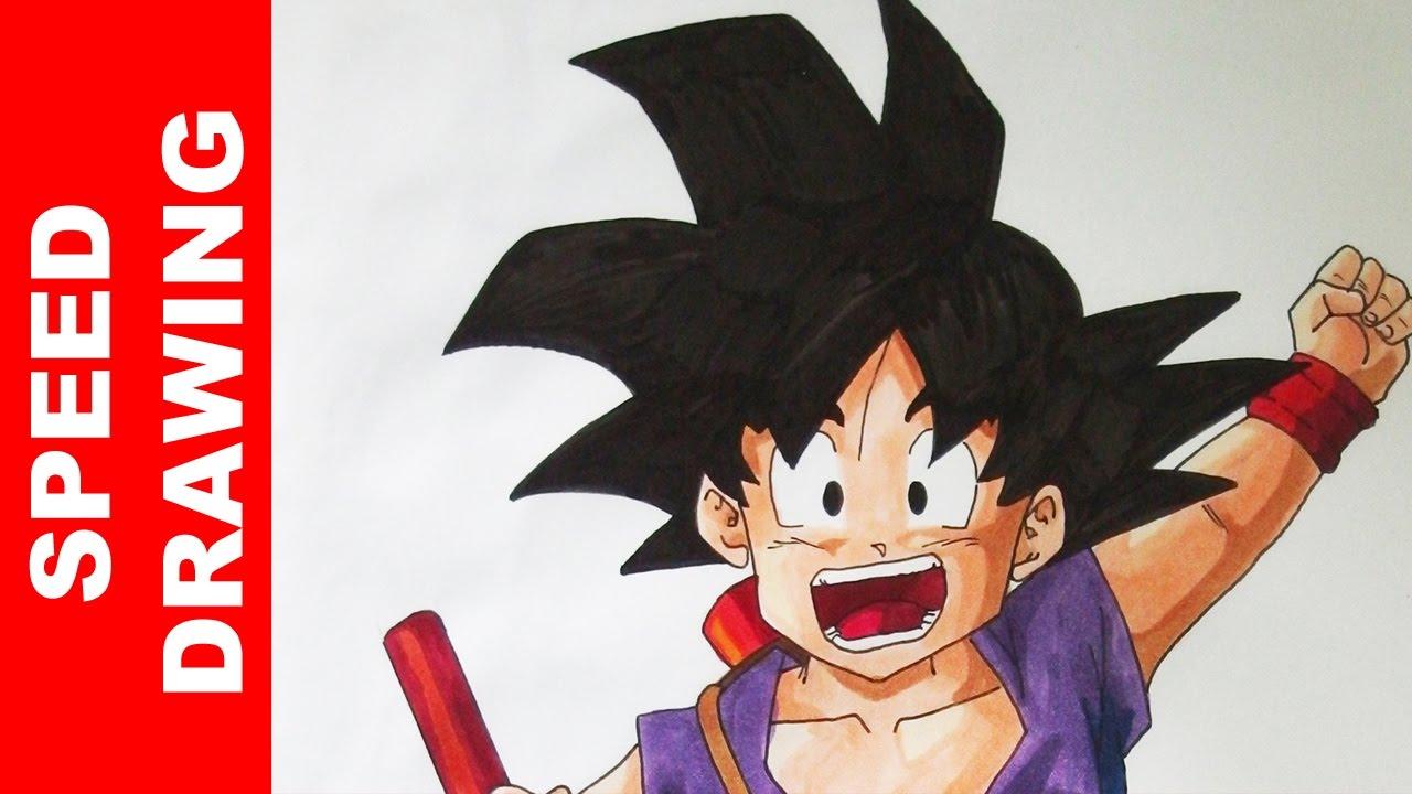 Comment dessiner goku enfant dragon ball tutoriel youtube - Comment dessiner goku ...