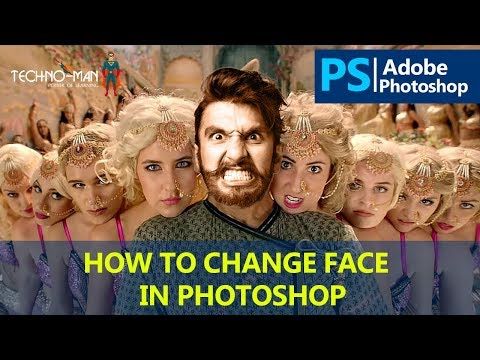 How to Change, Replace(Swap) face in Adobe Photoshop (in Hindi) tutorial thumbnail