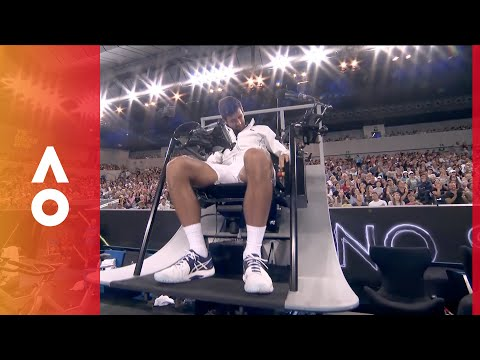 Novak Djokovic gets stuck in new umpires chair | Australian Open 2018
