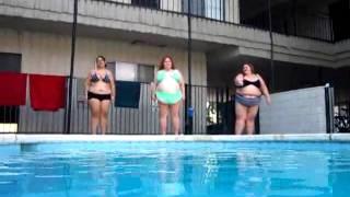 3 BBW ssbbw Gals jumping into the pool
