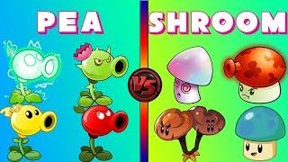 Plants vs Zombies 2 PEA Plant Power-UP! vs SHROOM Plant Power-Up! (PvZ 2 All Zomboss)