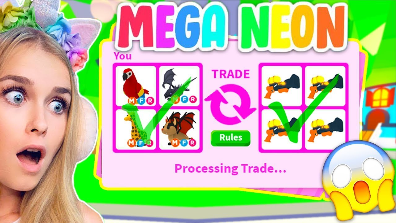 Trading Mega Neon Pets Only In Adopt Me Roblox Youtube