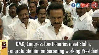DMK, Congress functionaries meet Stalin, congratulate him on becoming working President