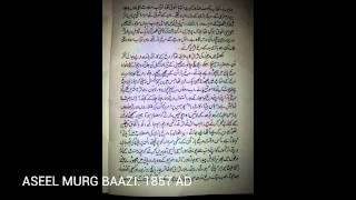 ASEEL MURG BAAZI: 1857 A.D - A VERY VERY RARE BOOK (Uploaded by Minhaj Mohiuddin)