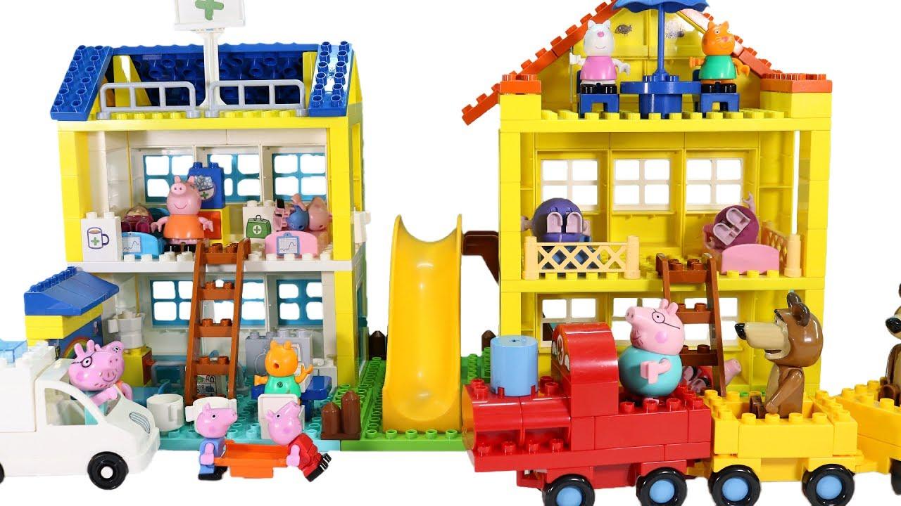 Lego Full House Peppa Pig Blocks Mega Hospital And House Duplo Lego Construction