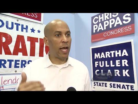 US Sen. Cory Booker campaigns for Granite State Democrats