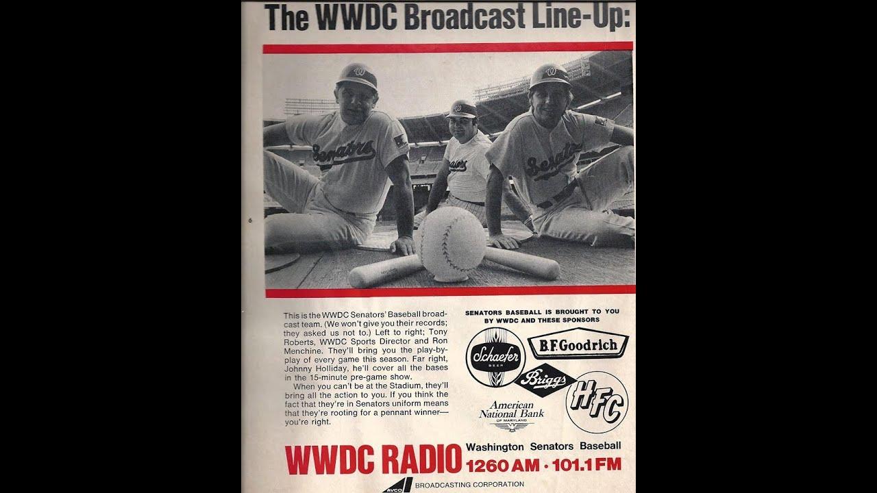 Cleveland Indians vs Washington Senators WWDC RADIO 1970 partial game  Shelby Whitfield Ron Menchi