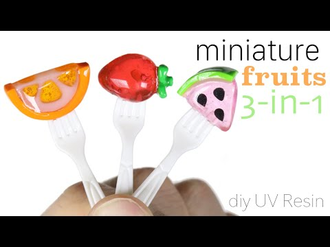 How to DIY 3-in-1 Fruits on a Fork UV Resin Tutorial