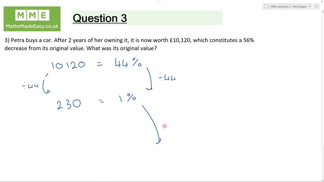 Percentages Questions | Worksheets and Revision | MME