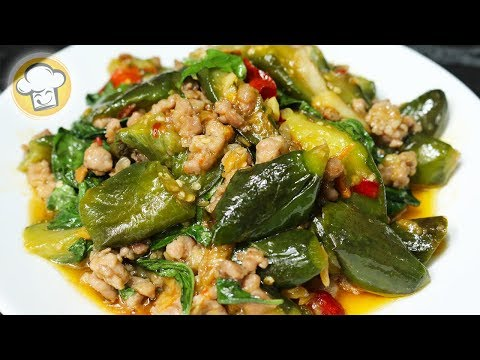 ผัดมะเขือยาว เคล็ดลับผัดมะเขือยาวให้ไม่ดำ อร่อยมาก   Stir-fried Long Green Eggplant   ครัวปรุงอร่อย