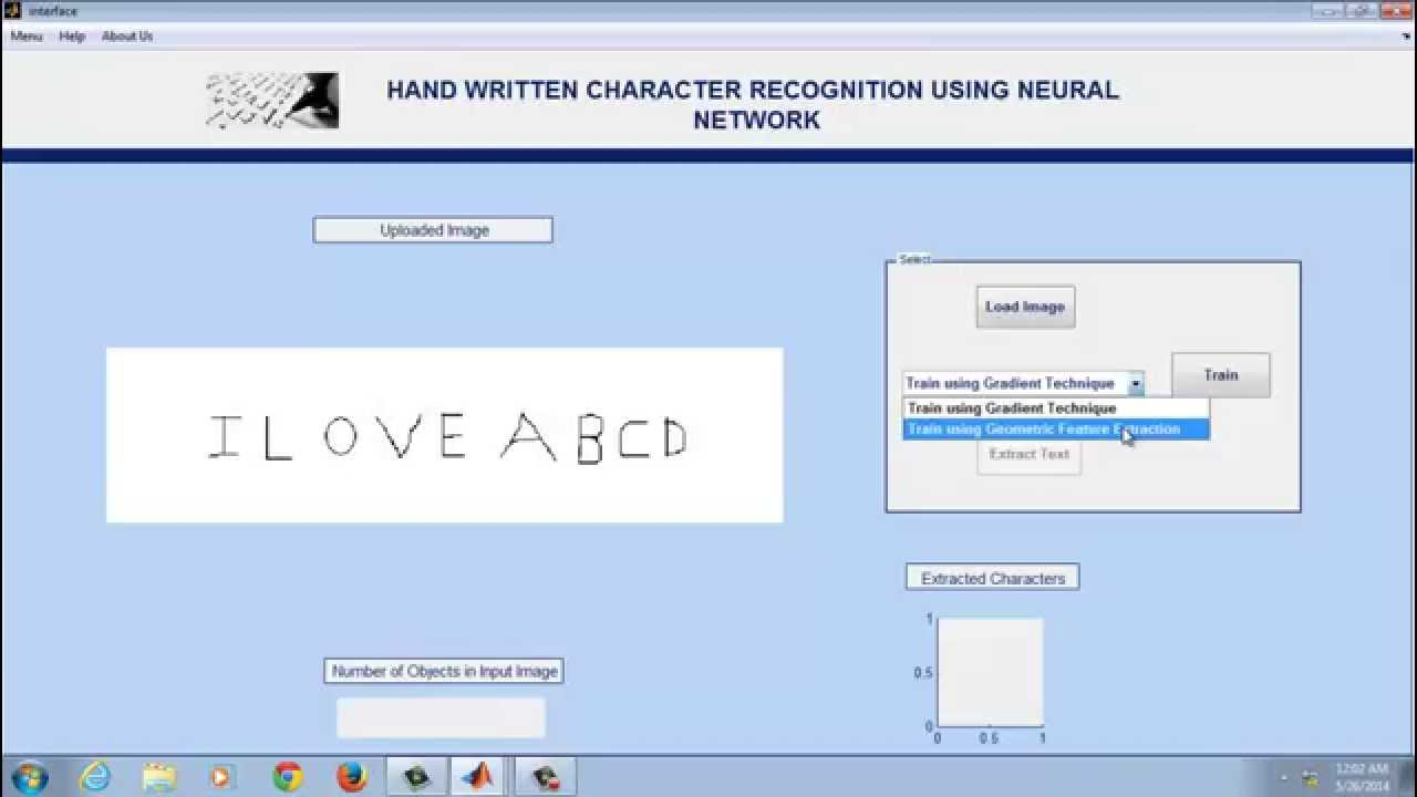 Artificial Neural Network using MATLAB - Handwritten Character Recognition