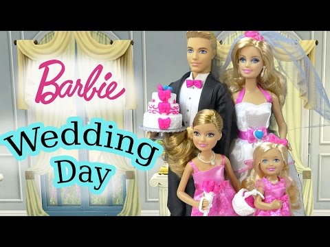 Thumbnail: Barbie Dolls Wedding Day Bridal Party Groom Ken Playset Flower Girl Bride Bridesmaid Playdoh Cake