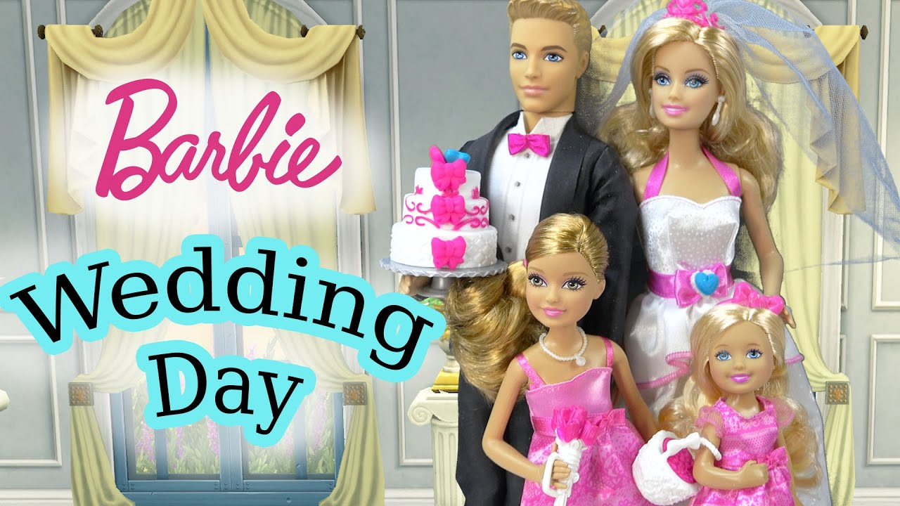 Barbie Dolls Wedding Day Bridal Party Groom Ken Playset ...