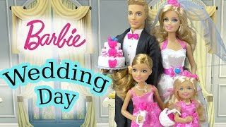 Barbie Dolls Wedding Day Bridal Party Groom Ken Playset Flower Girl Bride Bridesmaid Playdoh Cake