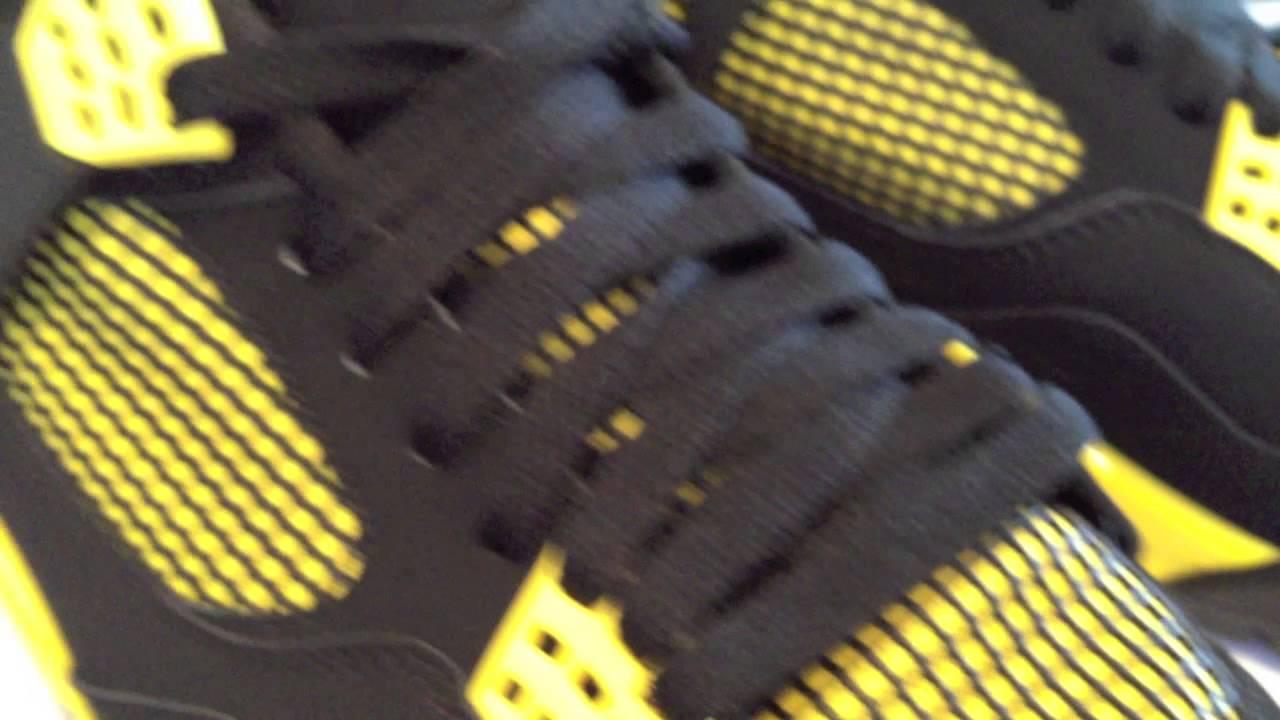 f534dc44e03845  Nike Air Jordan 4 (IV) Retro - THUNDER - Black   Tour Yellow   White  colorway... - YouTube