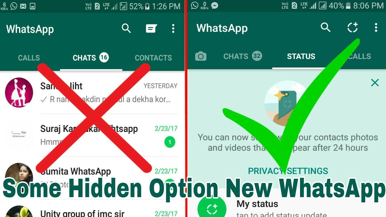 Hidden Option Whatsapp Status Update How To Use Whatsapp Update Features Status 2017