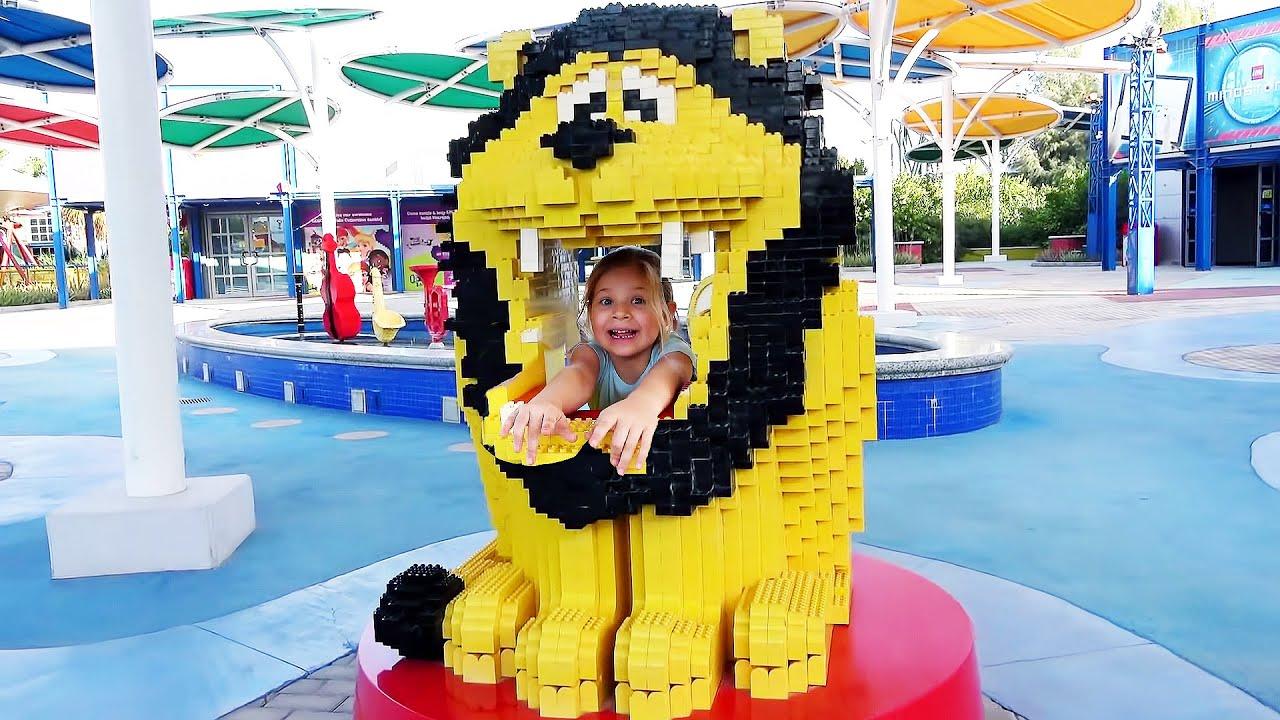 लेगोलैंड में डायना और रोमा! बच्चों के लिए दुबई मनोरंजन पार्क परिवार मज़ा