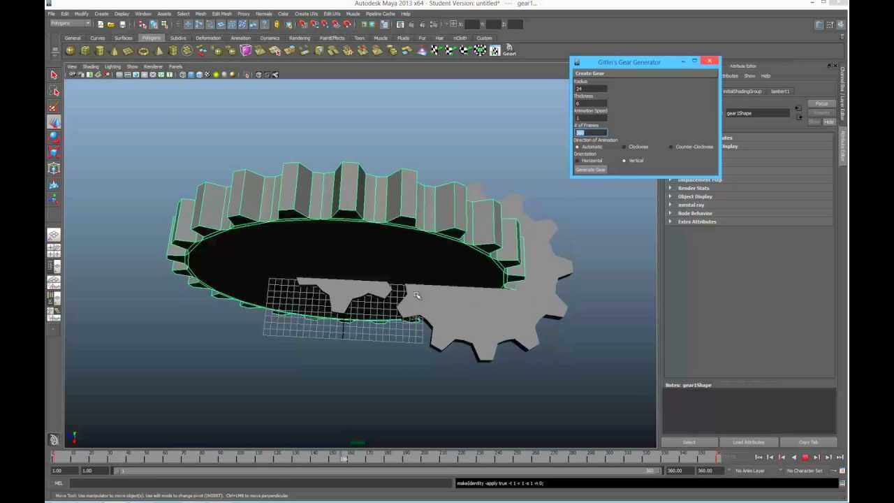 Gear Model and Animation Script for Maya