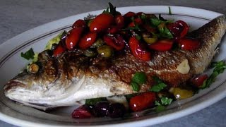 Pan Seared Branzino With Olives, Capers, & Tomatoes