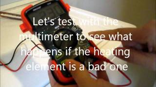 Test heating element of the GE water heater with a multimeter