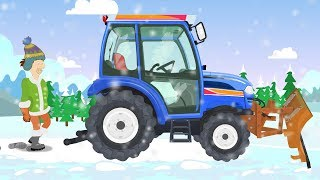 Blue #Tractor with a snowplough - Winter attack | Vehicles for Kids - Pojazdy dla dzieci