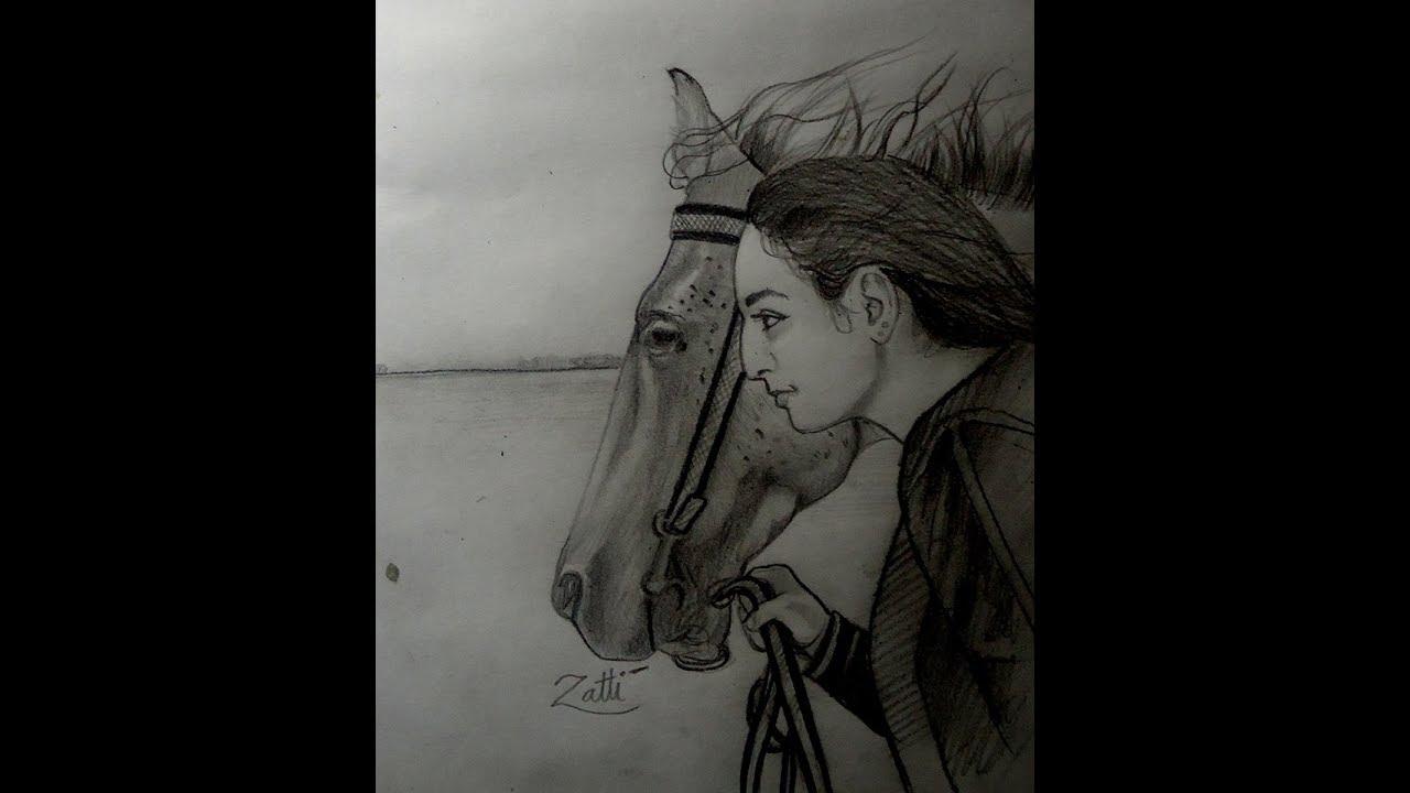 Como Desenhar Uma Mulher Com Cavalo Youtube
