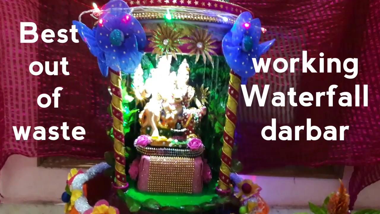 Ganpati Decoration Ideas At Home Waterfall Navratri