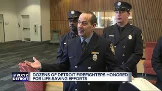 Dozens of Detroit firefighters honored for live-saving efforts thumbnail