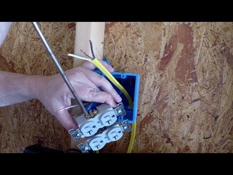 Installing an Electrical Outlet in new construction - YouTube