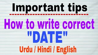 Important tips for date writing urdu hindi