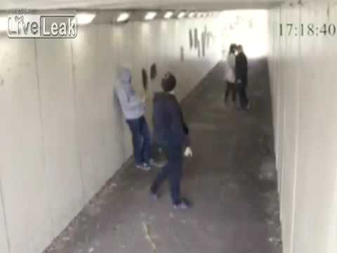 Two chavs throw cigarettes on man's girlfriend and get knocked out!