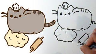 Cara menggambar lucu kucing pusheen