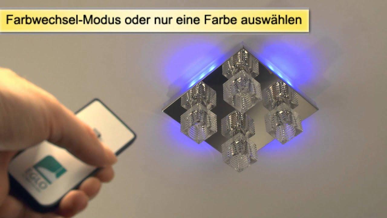 Led deckenleuchte mit farbwechsel wohnlicht youtube for Deckenlampe led rund