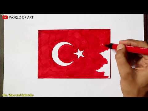 How To Draw Tuekey Flag | Türkiye Bayrağı çekmek Nasıl