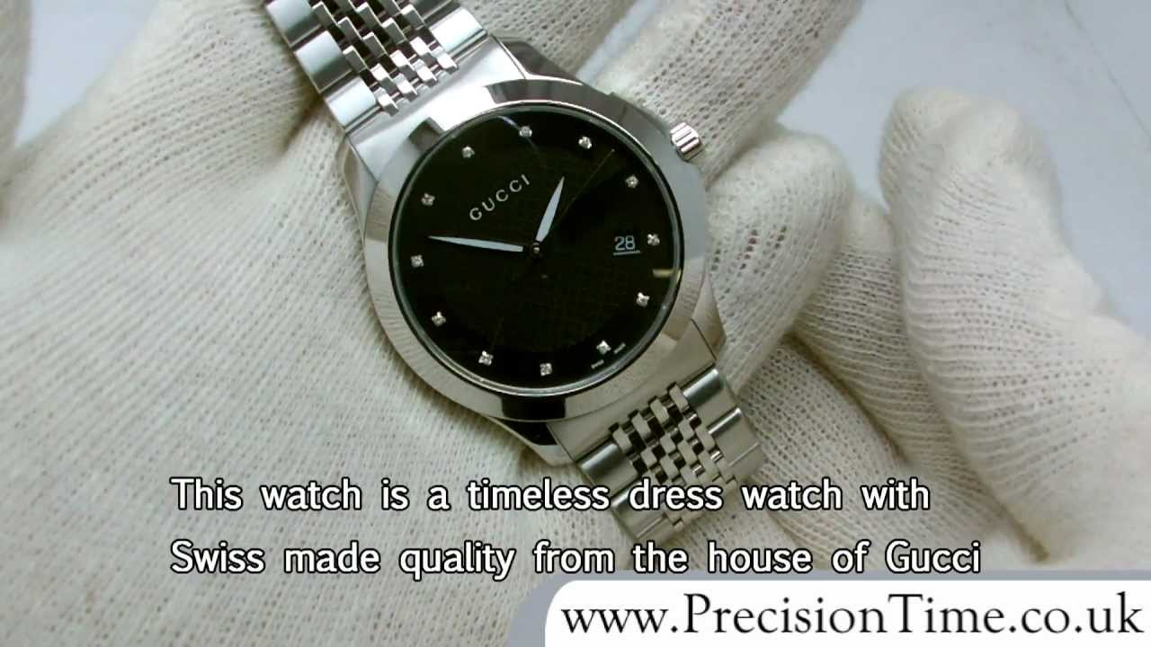 f4f08c24d6c Gucci YA126405 G-Timeless 12-Diamond Gents Watch - YouTube