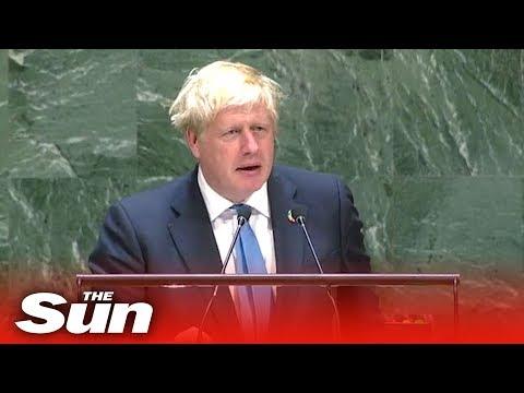 Boris Johnson's speech on Brexit, AI robots and chicken at the UN