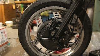 Remove Honda CBX550F Front Wheel, Brakes, and Forks