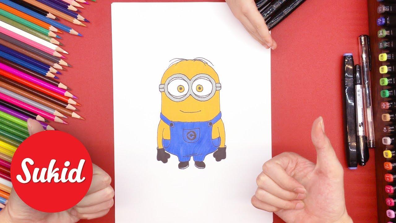 Hướng dẫn bé vẽ và tô màu Minion Dave, học màu sắc qua hình vẽ #SuKid