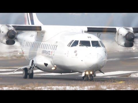 Air France ATR-42-500 Take Off at Airport Bern-Belp