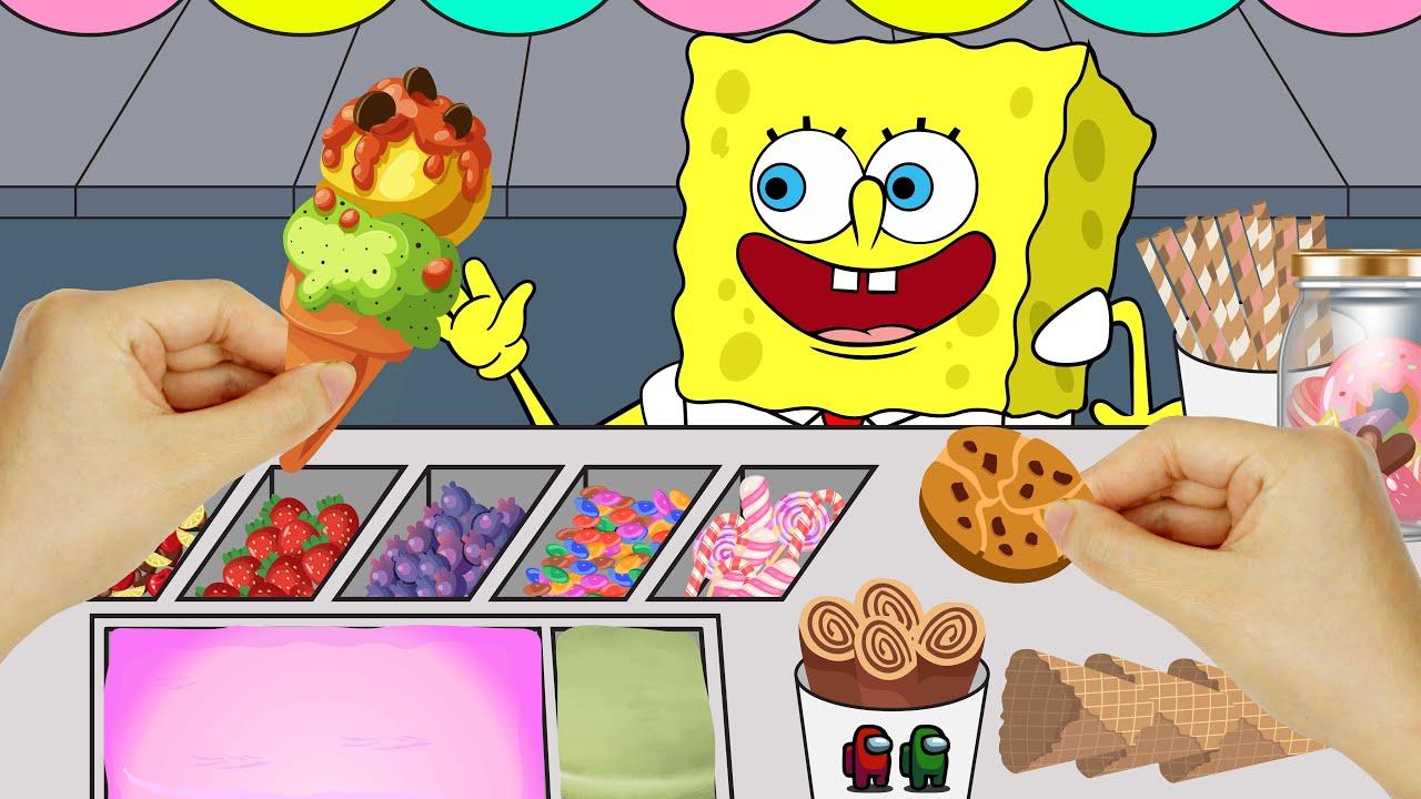 [DIY] Hamtie Ice Cream Roll ASMR ! Spongebob, Among Us Stop Motion Handmade Papercrafts