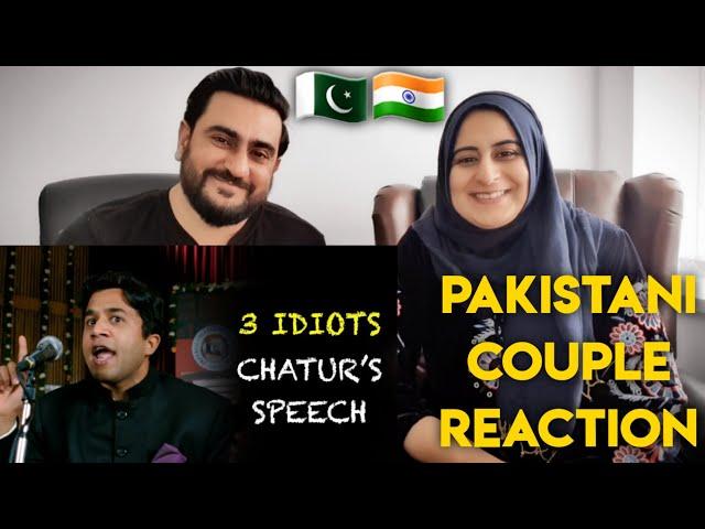 Chatur's speech - Funny scene   3 Idiots   Aamir Khan   Pakistani Couple Reaction